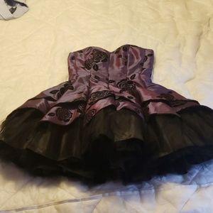 Masquerade purple & black strapless dress 9/10 euc
